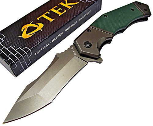 TEK-Spring-Assisted-Opening-Heavy-Duty-Folding-Pocket-Knife-Razor-Sharp-Modified-Drop-Point-Blade-Tough-Sure-Grip-G10-Handles-Lightning-Fast-Deployment-Only-From-Tactical-Edge-Knives