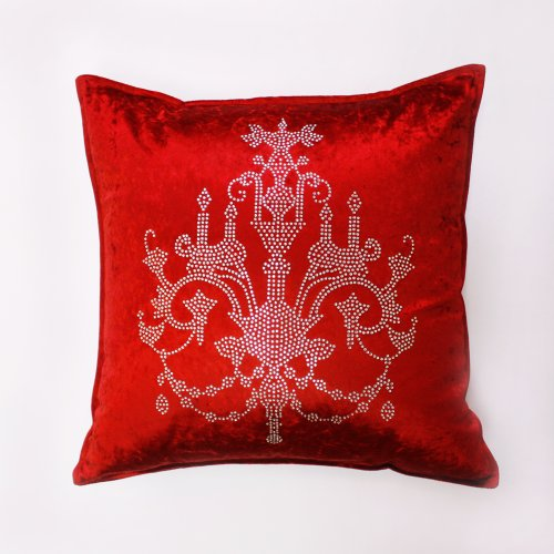 Best Home Fashion - Red Chandeliers rhinestone Stud Velvet Pillow Cover 19
