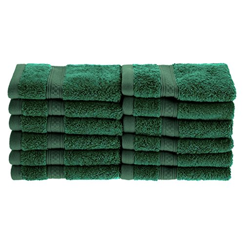 Superior Rayon from Bamboo and Cotton Face Towels, Velvety Soft and Super Absorbent, Hotel & Spa Quality Washcloth Set of 12 - Hunter Green, 13