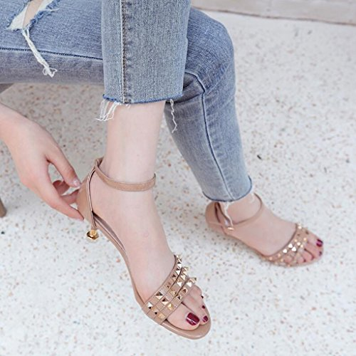 Sandals CJC High-Heeled Open Toe High Heels Thin High Heels Sexy Fashion Elegant Get Together Student Refreshing Apricot WDSCLHQS0