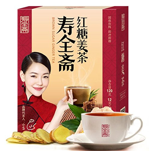 (Helen Ou@ Chinese Traditional Brown Sugar Ginger Tea Solid Beverage Convenient and Efficient 120g/4.2oz )