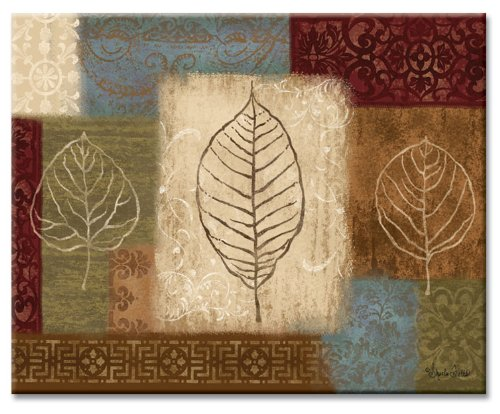 CounterArt 22296 Leaf Collage Glass Cutting Board, Multicolor , 15 x 12 Inches