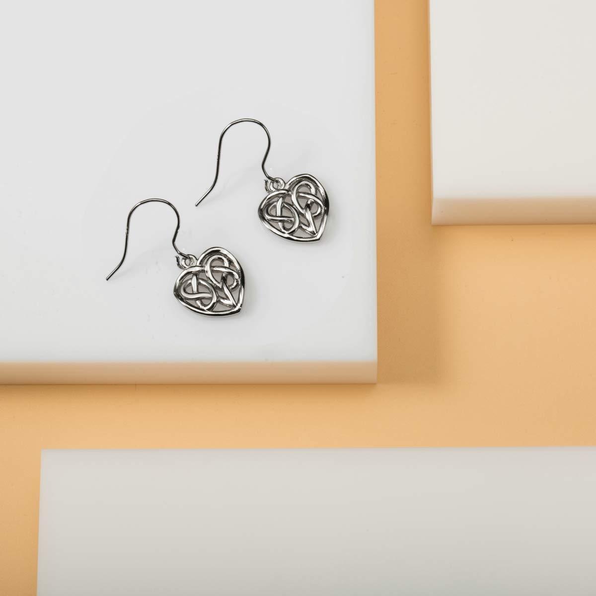 INFUSEU Sterling Silver Celtic Knot Earrings for Women Irish Good Luck Drop Dangle Hook Small Earrings