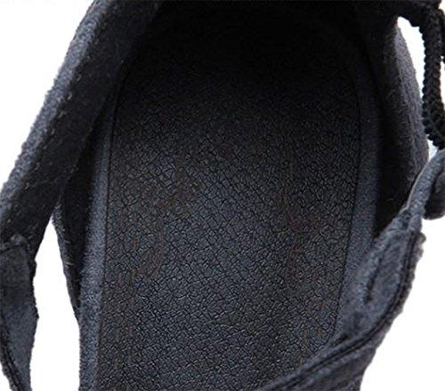 Easemax Womens Fotled Spänne Wrap Mitten Chunky Klack Faux Mocka Spetsiga Tå Sandaler Grå