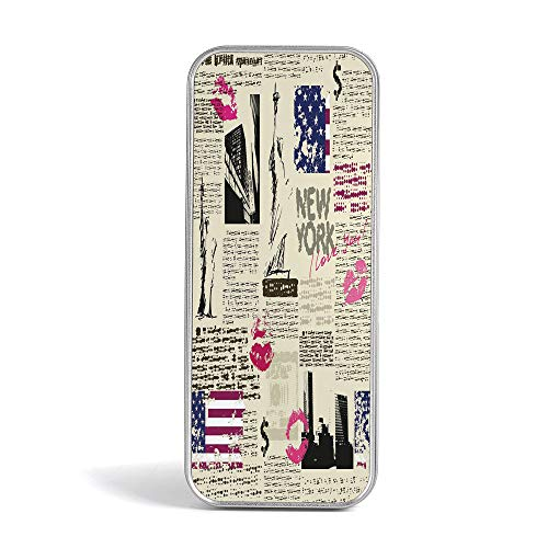 Tin Pencil Case,United States,Pen Case Organizer for School Office Home,Newspaper New York with Sketchy Statue of Liberty and Texts Lipstick Vintage Decorative