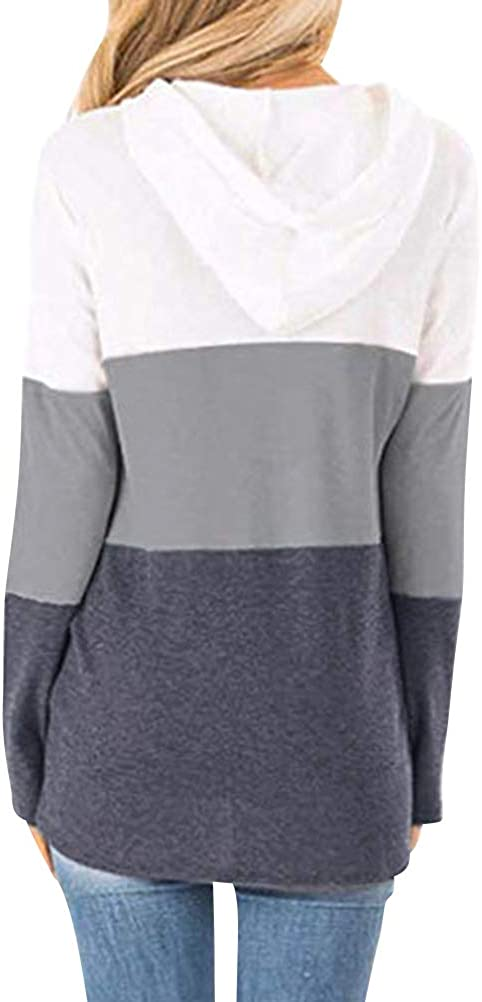 Dresswel Womens Striped Hoodies Pullover Color Block Long Sleeve Hooded Sweatshirt Jumpers Tunic Tops with Pockets Grey