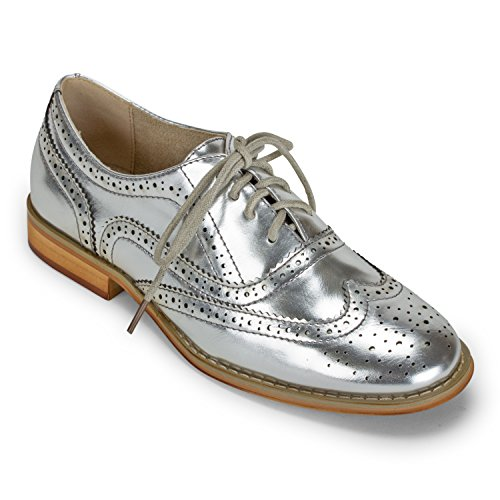 Wanted Shoes Womens Babe Oxford (8, Silver)