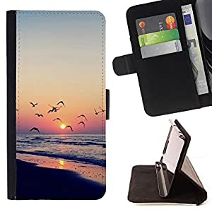 - Twilight coast - - Monedero PU titular de la tarjeta de cr????dito de cuero cubierta de la caja de la bolsa FOR HTC One M8 RetroCandy