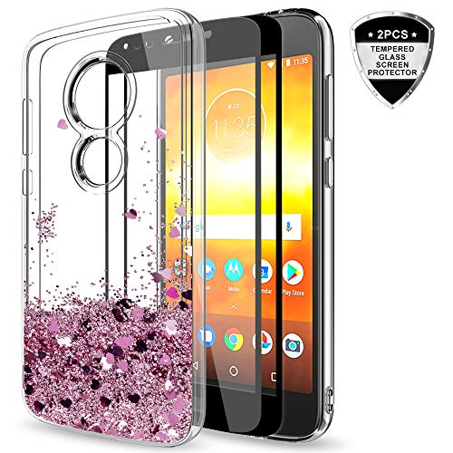 Moto E5 Play Glitter Case,Moto E5 Cruise Case with Tempered Glass Screen Protector [2 Pack] for Girls Women,LeYi Bling Liquid Protective Phone Case for Motorola E Play (5th Gen) ZX Rose Gold