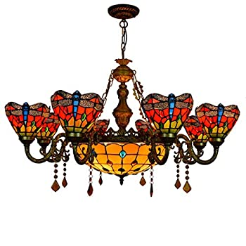 YJFFAN Retro Red Dragonfly Glass Shade Chandelier Ceiling Lamp Tiffany Style Ceiling Lighting 6/8-arm Ceiling Pendant Lights for Bar Bedroom Livingroom E27,8heads