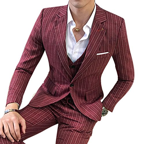 Double Breasted Striped Suit (AACFCHAIN Men's Wine 3 Piece Slim Striped Solid Suit Casual Two Button Double Breasted Blazer Vest Trouser Set)