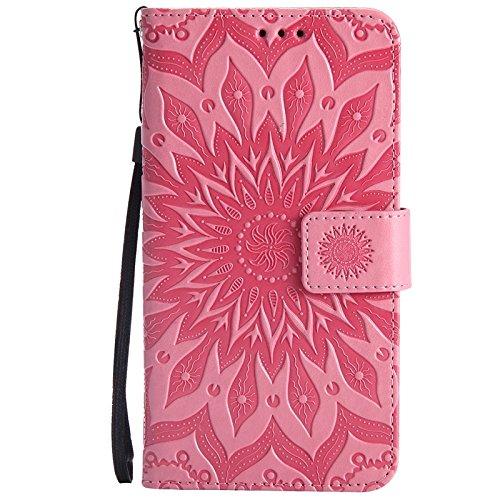 YAJIE-Carcasa Funda Para Huawei Honor 5A / Huawei Y6 2, Diseño de la impresión de la flor de Sun Cuero de la PU Tirón Cartera funda protectora con ranura para tarjeta de soporte ( Color : Red ) Pink
