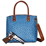 Concealed Carry Purse - Concealment Ostrich Town Tote - Left and Righthand Draw - CCW - by Gun Tote'n Mamas (Blue)