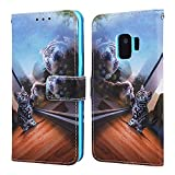 EnjoyCase Wallet Case for Galaxy S9,Colorful Mirror Cat Pattern Pu Leather Bookstyle Card Slots Magnetic Flip Cover With Hand Strap for Samsung Galaxy S9
