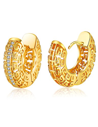 XZP Hollow Huggie Earrings Gold Filigree Hoop Earrings with (Gold Tone Huggie Earrings)