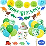 Dinosaur Birthday Party Decoration Set for Kids Party Supplies,Dinosaur Happy Birthday Banner Balloons Pom Poms Flowers Tattoo Sticker Party Favors for Child Baby Shower