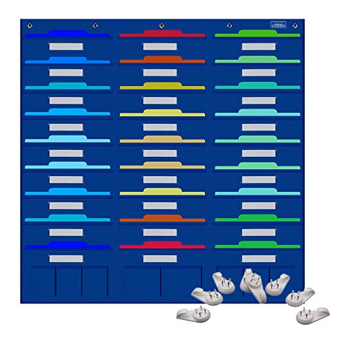 Pocket Chart, File Folder Organizer with 27 large + 8 small Pockets for Office, School, Home, Studio, etc. 41 X 40 inch, BLUE, Mountings READY (8 hangers) ()