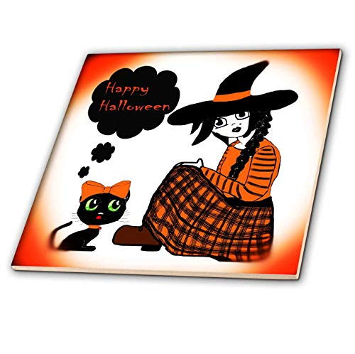 3dRose WhiteOaks Photography and Artwork - Anime Designs - Anime Sitting Halloween Witch is a Design I Drew for Halloween - 6 Inch Ceramic Tile (ct_194501_2) -