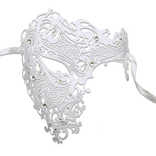 Luxury Mask Men's Signature Phantom of The Opera Half Face Venetian Laser Cut Masquerade Mask Metal, White/Clear Stones, One Size]()