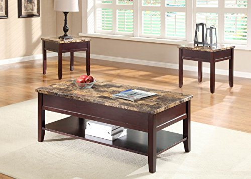 Homelegance Set Coffee Table - Homelegance Orton 3 Piece Faux Marble Top Coffee Table Set In Rich Cherry
