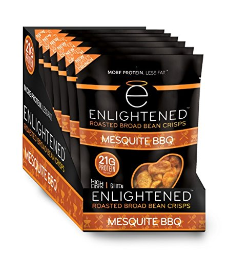 Mesquite Bean - Enlightened Plant Protein Gluten Free Roasted Broad (Fava) Bean Snack, Mesquite BBQ, 6 Count