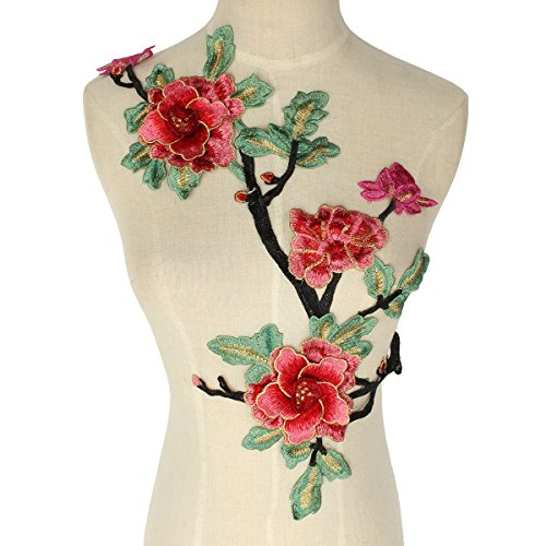 Crewel Embroidered Flowers (1piece Lace Neckline Collar Red Green Flower Embroidered Motif Applique Lace Fabrics Venise Sew on Patches Scrapbooking T1418)