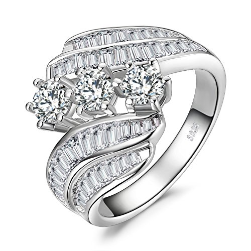 JewelryPalace Twisted Channel Set Baguette Bypass Band 6 Prong 3 Stone 5ct Cubic Zirconia Promise Wedding Engagement Ring 925 Sterling Silver size -
