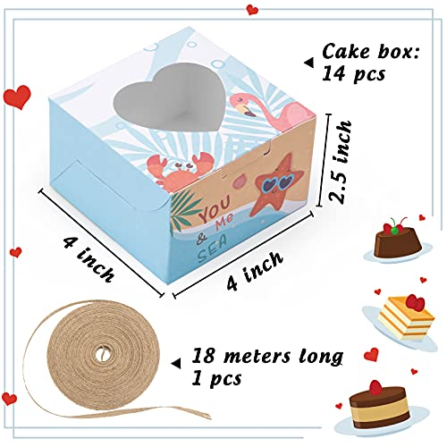 VGOODALL 14 PCS Summer Style Bakery Boxes Cupcake Containers with Window Cupcake Gift Boxes, 18M Linen Ribbon for Bakery Wrapping Party Favor Packing