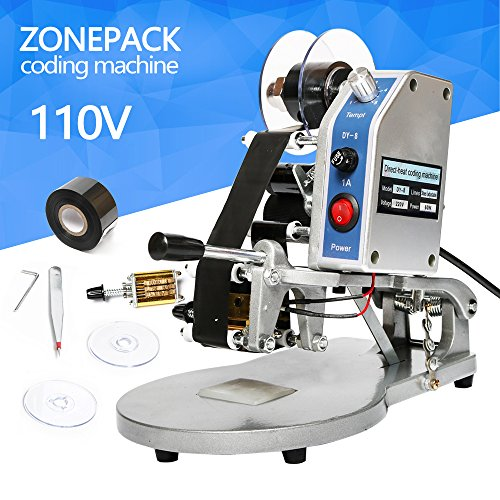 ZONEPACK DY-8 Date Printing Machine Hot Code Stamp Printer Semi Automatic Coding Machine 110V 40W by ZONEPACK