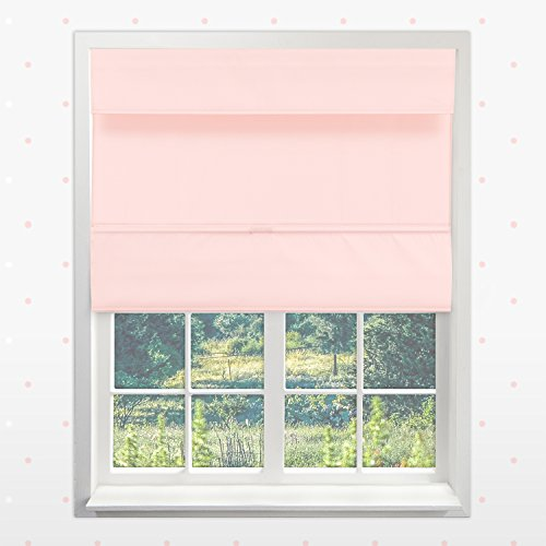 Chicology Cordless Magnetic Roman Shades / Window Blind Fabric Curtain Drape, Thermal, Room Darkening - Rose Pink, 27
