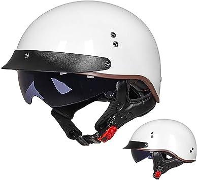 Gaozh Retro Motorradhelm Halbschalenhelm Mopedhelm Ece Zertifizierung Jethelm Für Damen Und Herren Mit Visier Erwachsene Oldtimer Vintage Style Harley Helm Sport Freizeit