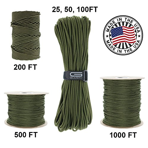 Military Parachute (GOLBERG 750lb Paracord / Parachute Cord – US Military Grade – Authentic Mil-Spec Type IV 750 lb Tensile Strength Strong Paracord – Mil-C-5040-H – 100% Nylon – Made in USA)