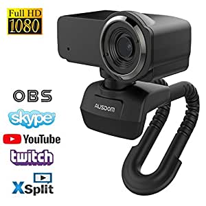 HD Streaming Webcam Full 1080P Video Calling and Recording Web Camera with Dual Built-in Noise Cancelling Microphones Desktop PC Or Laptop Cam by Ausdom