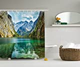 Ambesonne Lakehouse Decor Collection, Serenity of Obersee Mountain Lake in a Valley of Alps Bavaria Germany with Forest Scene, Polyester Fabric Bathroom Shower Curtain, 84 Inches Extra Long, Teal Navy