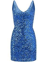 Women's Sequins Sleeveless V-Neck Mini Dresses