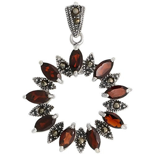 Sterling Silver Marcasite Wreath Pendant, w/ Marquise Cut 8x4 mm Garnet Stones, 1 3/8