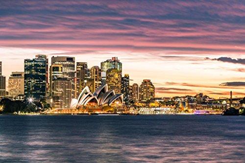 (Sydney Australia Opera House Skyline Sunset Photo Art Print Poster 36x24 inch)