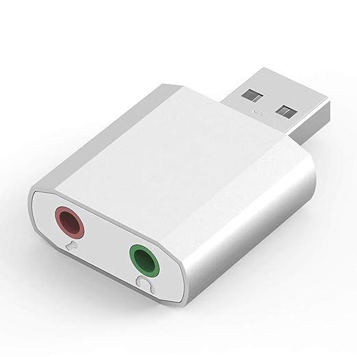 SpLYJ Adaptador de Auriculares de 3,5 mm Tarjeta de Audio ...