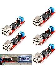 DAOKI 5Pcs Dual USB Step-Down Power Module LM2596 Double USB Step-Down Converter Module DC 6V-40V to 5V 3A Double USB Charge DC-DC 9V/12V/24V/36V to 5V USB 3A