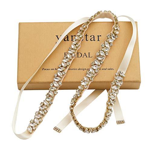 Yanstar Silver Rhinestone Wedding Belt Bridal Belt Sashes with Ivory Ribbon for Prom Bridesmaid Dress