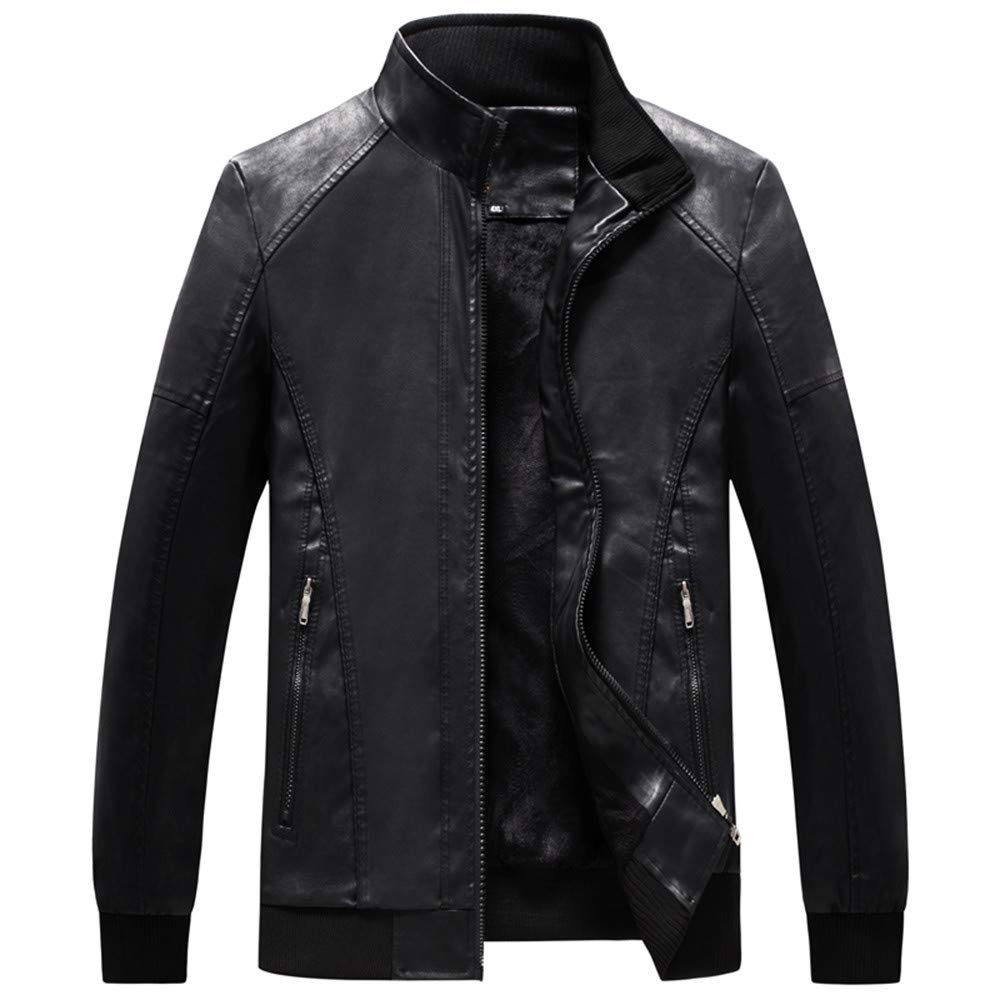 Men Jackets,Dartphew---Mens Pocket Button Thermal Leather Winter Coat/&Top