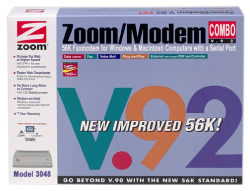 ZOOM Model 3048 External Serial 56K V.92 Fax Modem Combo ( Windows PC / Mac ) by Zoom