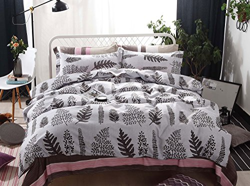 Botanical Duvet Cover Set, Tree Leaves Pattern Printed on Light Gray Grey, Soft Microfiber Bedding with Zipper Closure (3pcs, Queen (Leaf Queen Duvet)