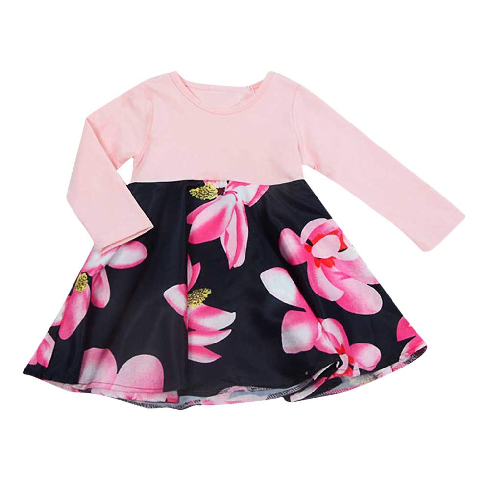 XUANOU Baby Long Sleeve Stitching Floral Print Dress Toddler Baby Long Sleeves Girls Flowers Print Outfits Kids Clothing