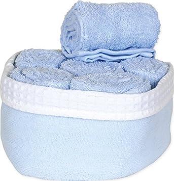 6 toallas para invitados en un cesto de tela 30 x 50, azul pastel, 30 x 50: Amazon.es: Hogar