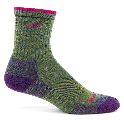 Darn Tough Vermont Women's Merino Wool Micro Crew Cushion Socks, Moss Heather, Small