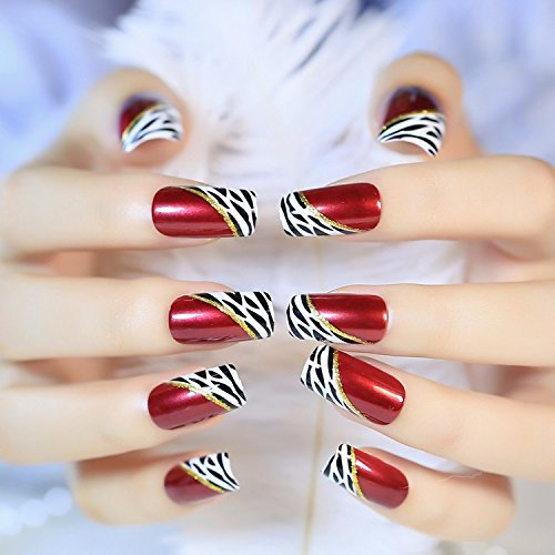 Leopard Finger Nails (24 Pcs Wine Red Leopard Print Glitter Gold Line Long Square Full Cover Acrylic False Nails Arts)
