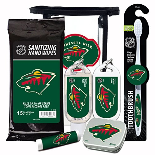 NHL Minnesota Wild 6-Piece Fan Kit with Decorative Mint Tin, Toothbrush, Hand Sanitizer, SPF 15 Lip Balm, Hand Lotion, Sanitizer Wipes. NHL Hockey Gifts for Men and Women