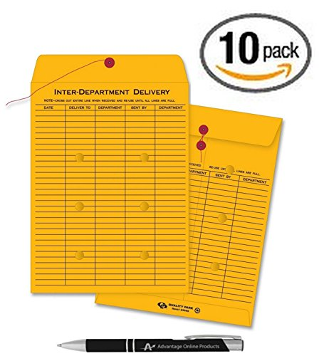 Quality Park Interoffice Envelopes (10 Pack Inter Office Inter-Departmental Envelopes with Free Custom AdvantageOP Black & Chrome Retractable Pen, Black Ink (10 x 13))