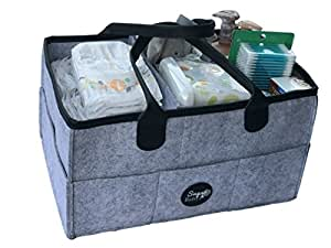 Baby Diaper Organizer caddy. Nursery Storage bin for boys and girls diapers| Diaper storage basket | large Portable Car Travel Organizer, Baby Shower gift basket and Newborn Registry must haves (Grey)